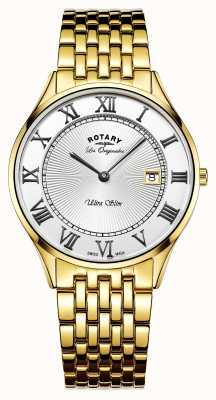 Rotary Mens ultra slim ouro tom de aço inoxidável mostrador branco GB90803/01