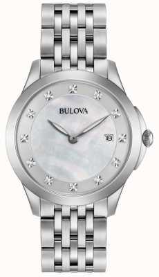 Bulova Diamante de prata de aço inoxidável da mulher 96S174
