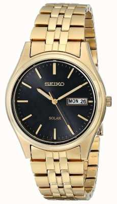 Seiko Mens solar banhado a ouro data do dia SNE044P9