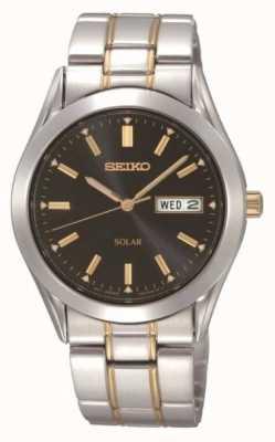 Seiko Relógio masculino com pulseira de aço inoxidável solar SNE047P9