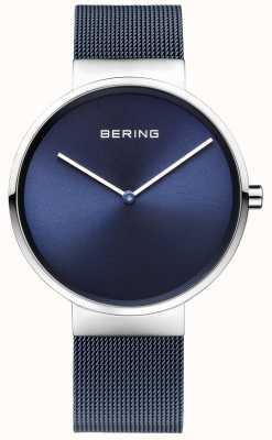 Bering Unisex azul ferro chapeado cinta de malha de aço 39 milímetros 14539-307
