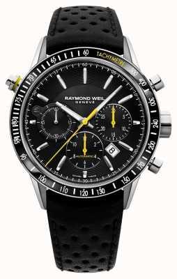 Raymond Weil Bracelete de couro preto com cronógrafo preto para homem 7740-SC1-20021