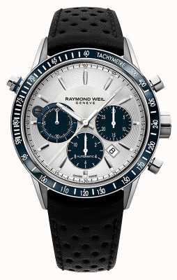 Raymond Weil Mens pulseira de couro preto automático cronógrafo branco 7740-SC3-65521