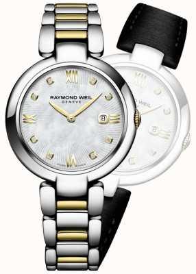 Raymond Weil Womans brilhar dois tons de aço inoxidável diamante dot 1600-STP-00995