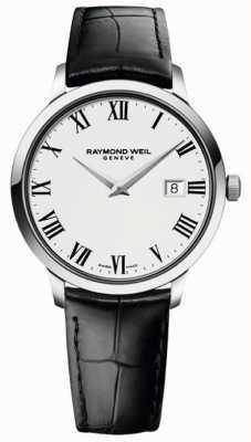 Raymond Weil Bracelete de couro preto branco fino para homem 5488-STC-00300