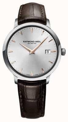 Raymond Weil Mens cinta de couro marrom prata slim 5488-SL5-65001