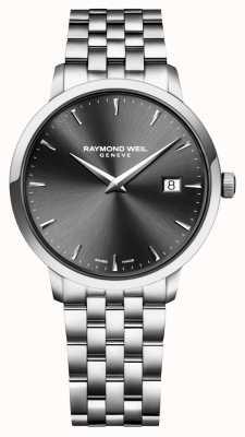 Raymond Weil Dial de carvão de aço inoxidável do movimento de quartzo dos homens 5488-ST-60001