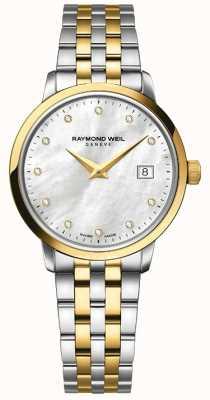 Raymond Weil Mulher toccata dois tom diamante de ouro 5988-STP-97081
