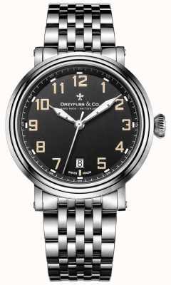 Dreyfuss aço inoxidável 1924 pulseira mostrador preto DGB00152/19