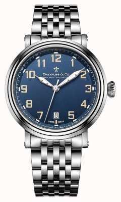 Dreyfuss mens aço inoxidável 1924 pulseira mostrador azul DGB00152/52