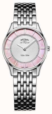 Rotary Senhoras pulseira de aço inoxidável mãe rosa de discagem pérola LB90800/07