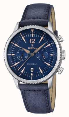 Festina mens blue crono, couro azul F16870/2