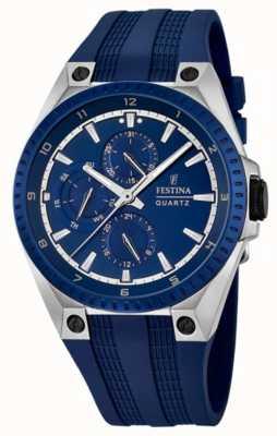 Festina mens multi-função pulseira de borracha azul F16834/2