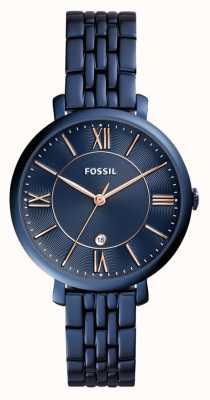Fossil Senhoras jacqueline azul relógio de aço inoxidável ES4094