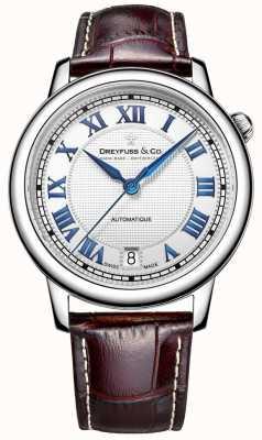 Dreyfuss Relógio de aço inoxidável masculino de 1925 com pulseira de couro marrom DGS00148/01
