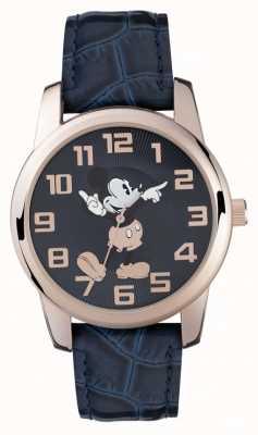 Disney Adult Mickey mouse subiu caixa de ouro pulseira azul MK1456