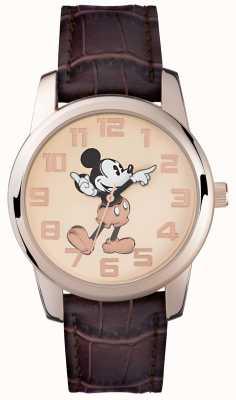 Disney Adult Mickey mouse subiu caixa de ouro pulseira marrom MK1459