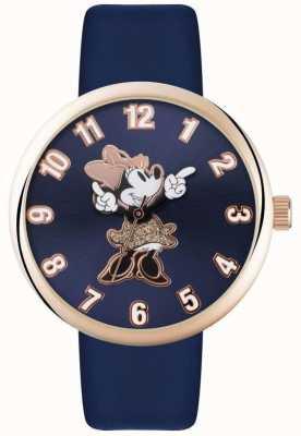 Disney Adult Minnie mouse subiu caixa de ouro pulseira azul MN1471