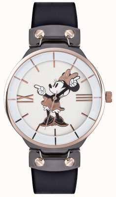 Disney Adult Minnie mouse subiu caixa de ouro pulseira preta MN1564