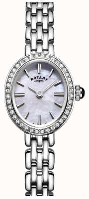 Rotary Relógio de cocktail de aço inoxidável da mulher, madrepérola LB05050/07