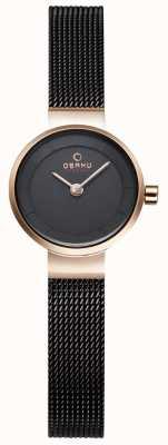 Obaku Malha preta da mulher e relógio de metal dourado V199LXVNMN