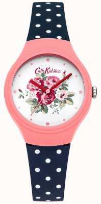 Cath Kidston Senhoras flor discagem azul polka dot watch CKL024PU