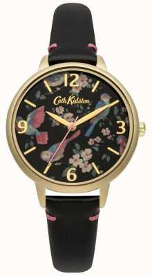 Cath Kidston Relógio de pássaro britânico de couro preto de senhoras CKL001BG