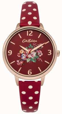 Cath Kidston Cath kidston briar rosa relógio de cinta de bolinhas vermelhas CKL004RRG