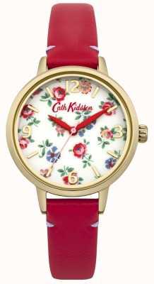 Cath Kidston Senhoras de couro vermelho relógio de raminho de linho CKL006RG
