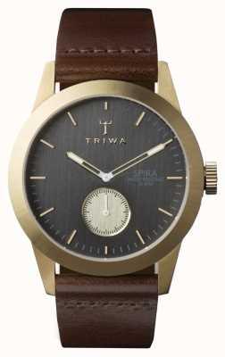 Triwa Mens cinza spira couro marrom SPST101-CL010413