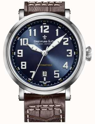 Dreyfuss Mens automatique pulseira de couro marrom mostrador azul DGS00153/52