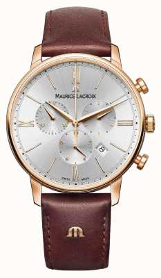 Maurice Lacroix Eliros 40mm mens watch couro marrom rosa banhado a ouro EL1098-PVP01-111-1