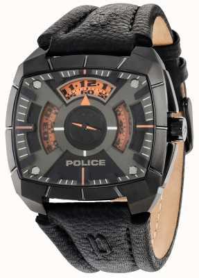Police Mens g force pulseira de couro preto mostrador preto 14796JSU/02