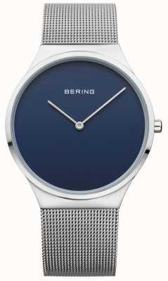 Bering Mens malha clássica mostrador azul 12138-007