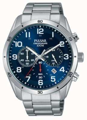 Pulsar Gents 100m inox stell blue face crono relogio PT3829X1