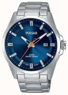 Pulsar Relógio de rosto azul em aço inoxidável para homem PS9505X1