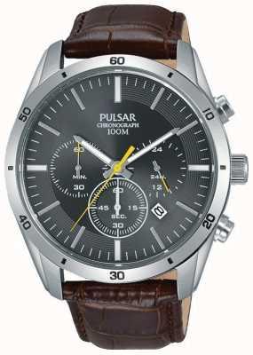 Pulsar Crono de rosto cinzento de couro marrom para homem PT3837X1