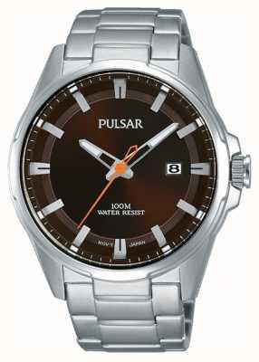 Pulsar Relógio de rosto marrom em aço inoxidável para homem PS9507X1