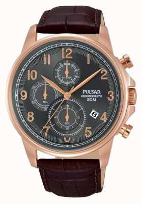 Pulsar Relógio de cronógrafo em couro marrom para homem PM3083X1