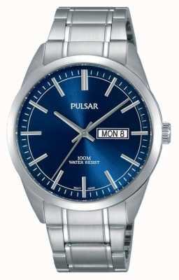Pulsar Relógio de rosto azul em aço inoxidável para homem PJ6073X1