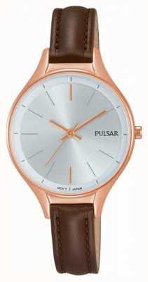 Pulsar Relógio de couro marrom feminino PH8282X1