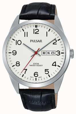 Pulsar Relógio de couro preto clássico Gents PJ6065X1