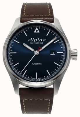 Alpina Mens startimer automático pulseira de couro marrom mostrador azul AL-525N4S6