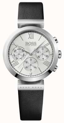 Boss Womens classic sport pulseira de couro preto mostrador prateado 1502395