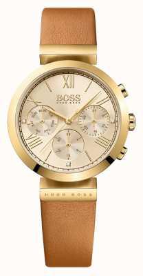 Boss Mostrador do ouro da cinta de couro marrom do esporte clássico das mulheres 1502396