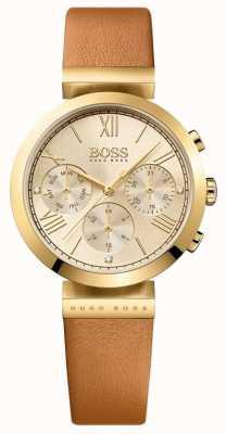 BOSS Bracelete clássico em couro marrom para mulher, com mostrador dourado 1502396