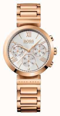 Boss Esporte clássico feminino subiu banhado a ouro pulseira de discagem de prata 1502399