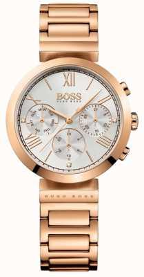 BOSS Womens clássico esporte rosa banhado a ouro pulseira mostrador prateado 1502399