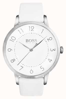 Boss Womens eclipse pulseira de couro branco mostrador branco 1502409