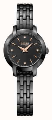 Boss Womens sucesso preto banhado pulseira de aço mostrador preto 1502387